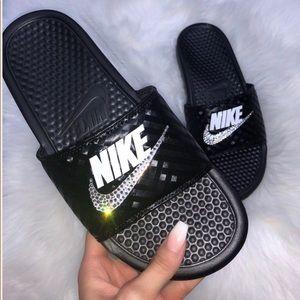 ⚡️Custom Bling Nike Benassi Slides⚡️